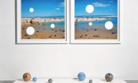 Holey #1 2003, C-Type digital photographs, aluminium spheres, cast vinyl, wooden plinths, unique work