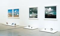 Holey 1,2 & 3 2003 Archival C-Type digital photographs, aluminium spheres, cast vinyl, wooden plinths, unique works