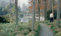 PFC12 City Gardens, Shanghai PRC, man in foreground, printed 2011, 1100 x 1100 mm archival digital print, ed 10