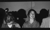 Telling 1986, Peter Cheslyn (Gene Shalit), Jenny Plumbstead (Jane Pauley), Brigit Kitchen (Maria Shriver), Bruce Keller (Willard Scott), Yuji Sone behind orchestra.